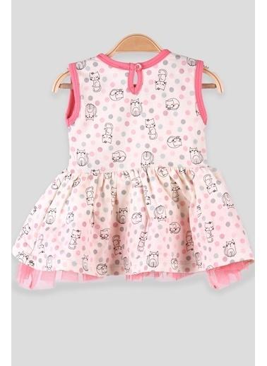 Breeze Kız Bebek Elbise Fiyonklu Kedi Desenli Pembe (9 Ay-3 Yaş) Pembe